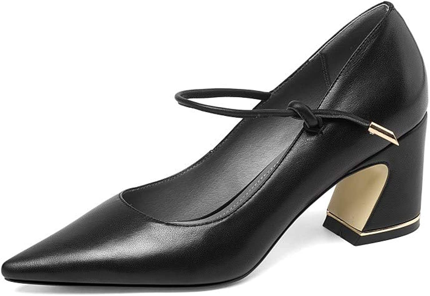 Nine Seven Women's Genuine Leather Pointed Toe Mid Chunky Heel Handmade Casual Office Work Mary Jane Pumps