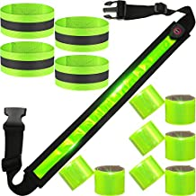 13 Pieces LED Reflective Belt High Visibility Set Includes 1 USB Reflective Rechargeable Belt, 8 Reflective Slap Bands, 4 Adjustable Reflective Straps Safety Gear for Night Running, Cycling, Walking