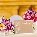 Partycards 50 Tischkarten/Platzkarten DIN A7 für Hochzeit, Geburtstag, Kommunion, Taufe (Kraftpapier und Pusteblume) - 4