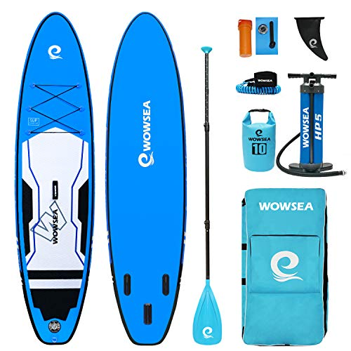 WOWSEA Trophy T1 Inflatable Stand Up Paddle Board, Durable and Stable Hunting SUP Boards Inflatable, Fishing & Exploring iSUP, 11' Long x 32' Wide x 6' Thick (Blue)