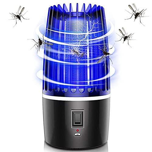 LIPETLI Lampara Antimosquitos,Asesino de Mosquitos 2 en 1 Recargable por USB,Asesino de Mosquitos PortáTil,con Cepillo,se Puede Utilizar para Acampar en el Patio del Dormitorio,b