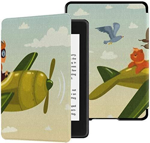 Gloednieuwe Kindle Paperwhite waterbestendige stoffen bekleding (10e generatie, uitgave 2018), jongen vliegtuig, zijn hond vliegt tussen tablethoes