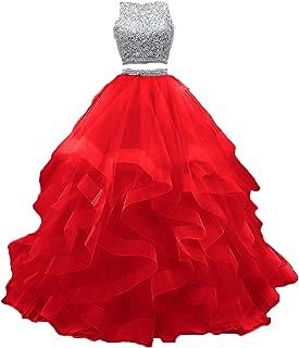 Fashionbride Women's Formal Ball Gown Open Back Beaded 2 pc Prom Dress Long