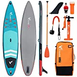 """Freein Inflatable SUP Stand Up Paddle Board Touring ISUP 11'6""""/12'6""""x32 x6 Package - Dual Action Pump, Leash, Adaptor, Camera Mount, Backpack,Fiber Paddle"""