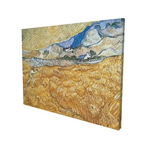 Póster decorativo de campos de trigo de Vincent Van Gogh con segador en el amanecer, lienzo moderno, arte de la pared e impresiones, decoración del hogar, 40 x 30 cm