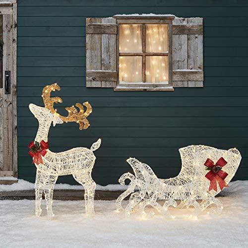 Lights4fun Figura di Renna di 1 metro di Altezza con Slitta Natalizia in Filo di Cotone con 280 LED Bianchi Caldi per Uso in Esterni