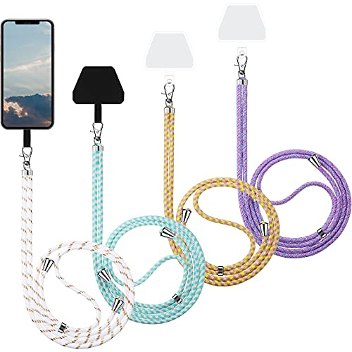 Weewooday 4 Pieces Universal Cell Phone Lanyards with Adjustable Detachable Nylon Neck Crossbody Lanyard and 4 Pieces Black and Transparent Pads for Most Smartphones (Light Color Series)