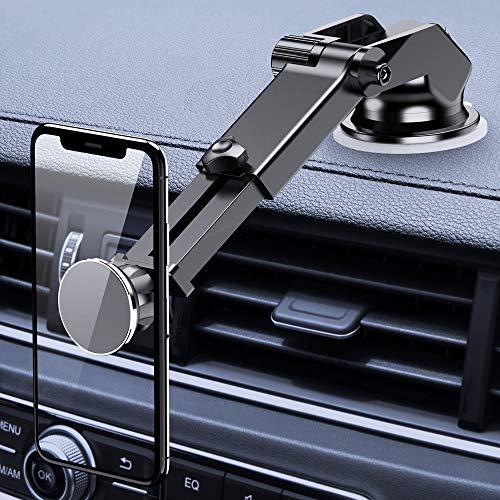 FLOVEME Handyhalter fürs Auto, 2 in 1 Magnet Universal Handyhalterung Auto Saugnapf für Armaturenbrett & Windschutzscheibe, 360° KFZ Smartphone Halterung Mit Teleskoparm für iPhone Samsung Huawei