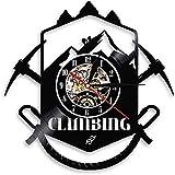Reloj de pared de vinilo Ruta de senderismo Piolet Equipo de deporte extremo Escaladores Logotipo de escalada de montaña Reloj de pared Silencioso 12 pulgadas Regalo de decoración del ho-Without Led