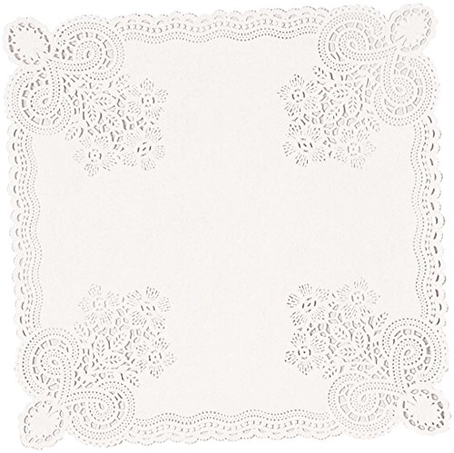 amscan Floral Paper Doilies, Square Doilies, Party Supplies, White, 10.5 inches, 20ct