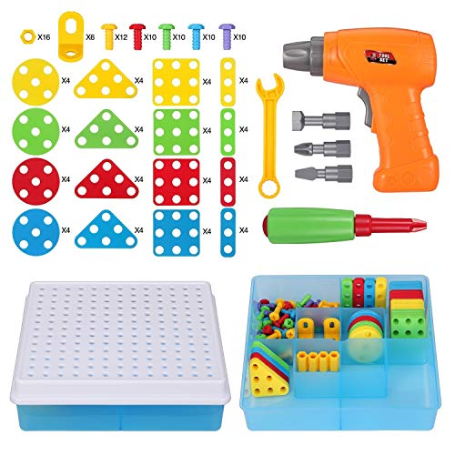 Creative Mosaic Drill Set, Drilling Toy with Screwdriver Tool, Trendy Bits Drill for Kids STEM Engineering Toys Puzzle, Toddler Drill Set Mosaic Design Building Blocks for 3 4 5 6 7 8 Year Olds