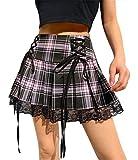 ORANDESIGNE Falda Plisada de Costura de Encaje Falda a Cuadros Falda Corta de Encaje Oscuro con Tiras Irregulares Sexy C Rosa XS