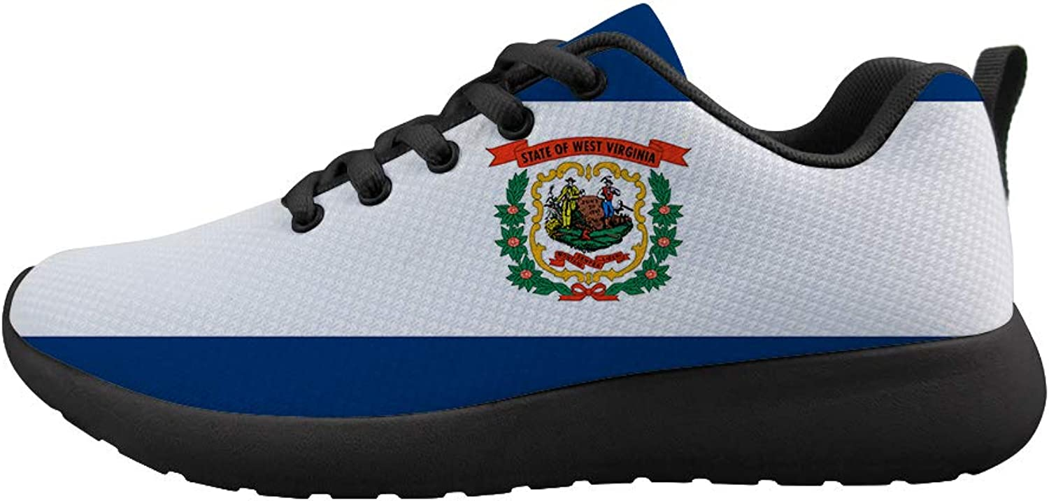 Owaheson Cushioning Sneaker Trail Running shoes Mens Womens Mountain State West Virginia Flag