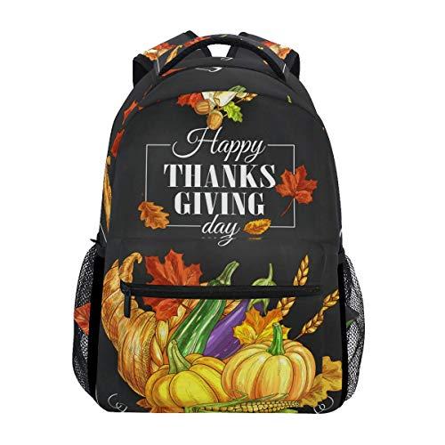 NA Casual Schulrucksack Happy Thanksgiving Day Kürbisse Brot leicht Reise Daypack College Schultertasche für Frauen Mädchen Teenager