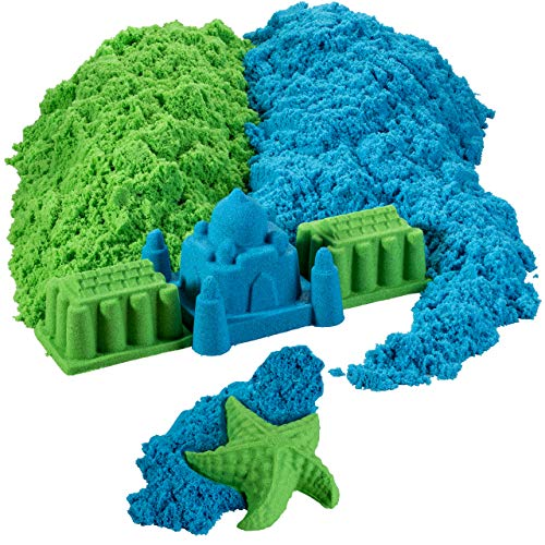 walla Colored Play Sand Bulk for Kids 5 Lbs. Original Moldable Sensory Play Sand, Blue and Green, Moldable Sand Art. Great Sensory Toy, Bring The Beach Sand to Your Home with Mess-Free Magic