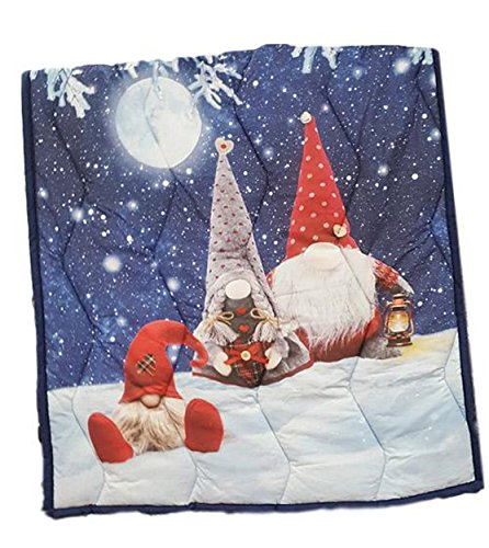 Coperta plaid scaldotto Gnomo Elfi Natale trapuntato cm 130x160