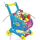 Goodvk Carritos de Compras para Niños Carretilla del supermercado Juguete Kinder 19 Piezas Juego Juguete de la casa Vegetal de la Fruta Juguete Divertido (Color : Azul, Size : 31.5x25x40CM)