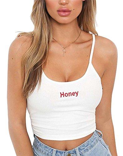 Minetom Mujeres Moda Tanque Tops Sexy Correas De Hombro Ajustables Cuello Redondo Sin Mangas Elastic Bandage Vest Tops Honey Paris Imprimir Chaleco