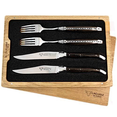 Laguiole en Aubrac Premium Set de couverts à steak forgés comprenant 2 couteaux à steak et 2 fourchettes à steak en chêne de marbre fossile