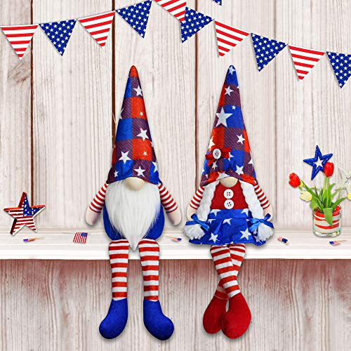 2Pcs 4th of July Patriotic Gnomes Plush Decorations - Mr & Mrs Handmade Swedish Tomte Gnomes Ornaments for Patriotic Party Table Decor- Fourth of July Party Home Mantle Fireplace Decor