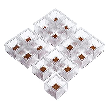 Outus 16 Pack Chair Leg Caps Silicone Feet Pads Square Furniture Table Feet Covers