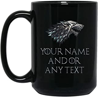 Custom Personalized Game of Thrones Coffee Mug House Stark Direwolf Sigil Mug 15 oz Black Ceramic Cup Great for Hot Chocolate and Tea Arya Sansa Jon Bran Rob Perfect for any GOT Fan