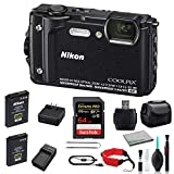 Nikon COOLPIX W300 Rugged Waterproof Underwater Digital Camera Bundle with 64GB Memory Card + Spare Battery + Travel Charger + More (Black) 26523