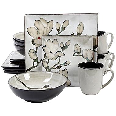 Gibson 16 Piece Claretta Reactive Glaze Floral Dinnerware, Gray/White