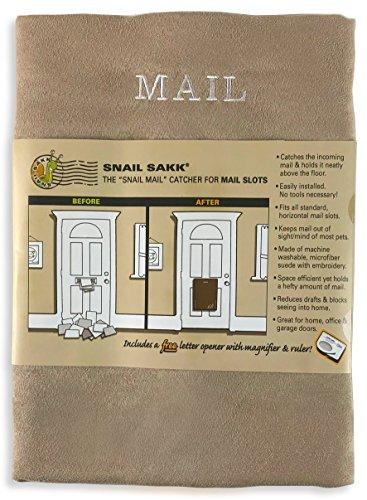 SNAIL SAKK: Post Catcher voor brievenbussen - TAN (lichtbruin). Geen gereedschap of schroeven nodig! Ruimtebesparend, vermindert tocht, beschermt privacy en meer. Voor huis-, kantoor- en garagedeuren. | Basket Letter Cage Mail Box Uitgeschakeld Ouderen Moederschap Hardware Excluder