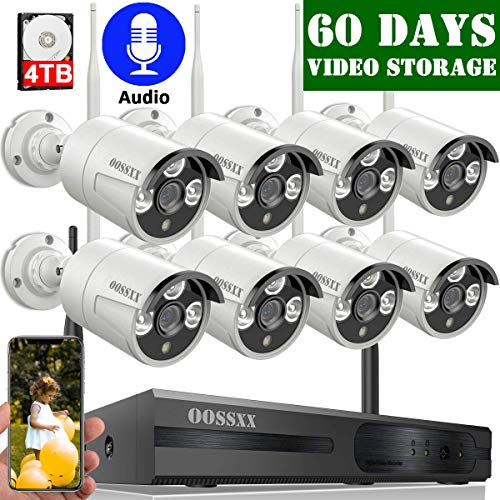 【2020 Update】 OOSSXX 8-Channel HD 1080P Outdoor Wireless Security Camera System,8Pcs 1080P Wireless Indoor/Outdoor IR Bullet IP Cameras,P2P,App, HDMI Cord