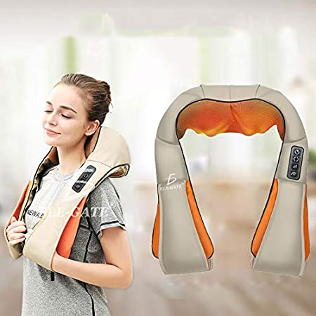 ELE-GATE Masajeador Cuello Espalda Hombro Función De Calor con 3D Rotación De Fatiga En Casa Oficina O Coche