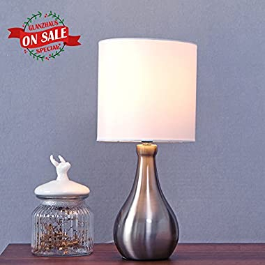 Glanzhaus Contemporary Modern Style 14.4 H Nightstand Brushed Nickel Small Table Lamp, White Lampshade Beside Lamps for Bed room Living Room