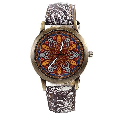 JZDH Relojes De Las Mujeres Azul Y Damas De Bronce Porcelana Blanco Mira El Reloj De Las Mujeres De Cuarzo De La Manera De Las Mujeres del Reloj De La Correa De La Flor Señora Reloj (Color : Black)