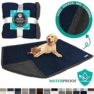 """PetAmi Waterproof Dog Blanket for Bed Couch Sofa   Waterproof Dog Bed Cover for Large Dogs  Navy Grey Sherpa Fleece Pet Blanket Furniture Protector   Reversible   Queen 90"""" x 90"""" (Navy/Gray)"""