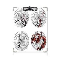 クリップボード A4 アパートの装飾 学用品A4 バインダー エスニックパラソルのグループ A4 タテ型 クリップファイル ワードパッド ファイルバインダー 携帯便利渦巻き花のラインと笹の葉のプリント 赤白