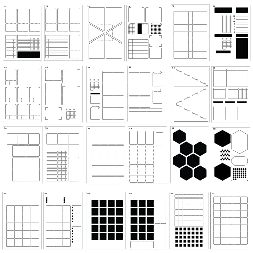 Speedy Spreads Journal Stencils (All Layouts Bundle) - x24 Planner Stencils for A5 Bullet Dot Grid Journal Notebook, Save Time on Weekly and Monthly Calendars, Habit Trackers and More by Sunny Streak