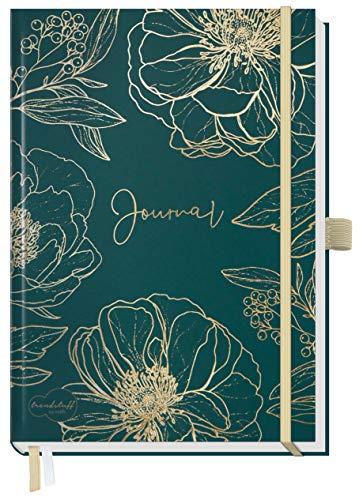 Trendstuff Premium Bullet Journal dotted [Goldblüte] Notizbuch A5 gepunktet | 188 Seiten dickes Papier | Tagebuch mit Punkteraster, Gummiband, Stifthalter | nachhaltig & klimaneutral