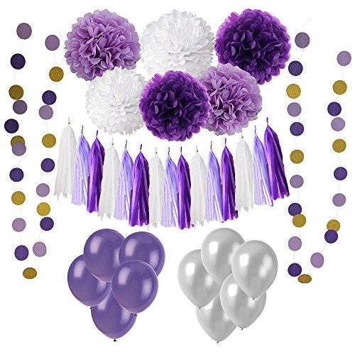 Wartoon 33 Pcs Papel Pom Poms Flores Tissue Globo Tassel Garland Polka Dot Kit de Guirnalda de Papel para las Decoraciones del Banquete de Boda de Cumpleaños - Negro y Dorado
