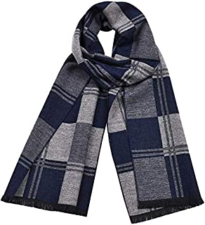 Men's Plaid Scarf Double-Faced Cashmere Autumn and Winter Warm Shawl Men's Scarf, Blue yppss (Color : Blue, Size : -)