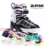 2PM SPORTS Cytia Adjustable Size Kid Girl Rollerblades LED Light Wheels, Inline Skates for Kids, Girls and Women and Men - Pink M (32-35EU)