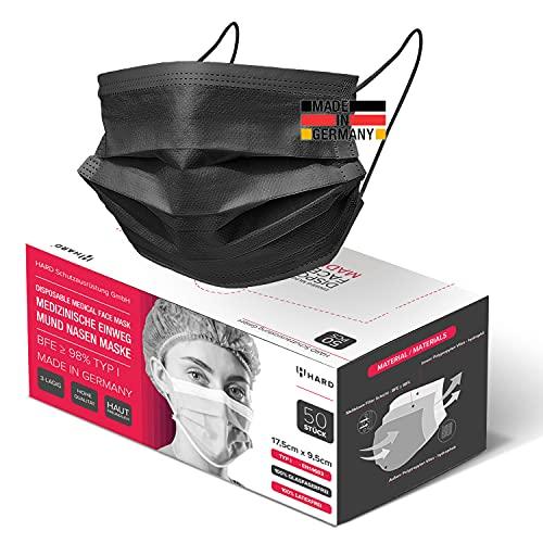 HARD 50x Medizinischer Mundschutz Maske, Made in Germany, OP-Maske TYP I, CE zertifiziert EN14683, BFE 3-lagig ≥95% schützende Mund-Nasen-Bedeckung, Einweg-Gesichtsmasken Erwachsen - Schwarz