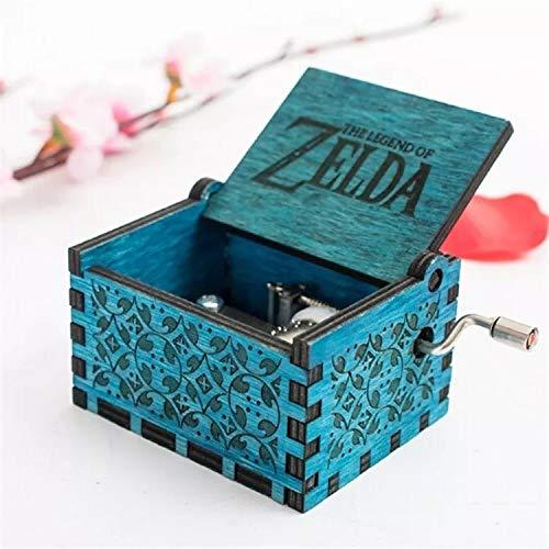 Love lamp Diablo Music Box Manivelle Gravé Boîte à Musique en Bois Boîtes à Musique Vintage Bois Crafts Sculpté Cadeaux for Anniversaire / Noël / Saint Valentin ( Color : Blue )