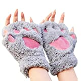 Image: Arshiner Women Bear Plush Cat Paw Claw Glove Soft Winter Gloves | One size fits all, Good for kids and adults