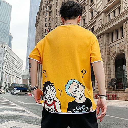 Japonesa Anime Mangas Cortas Camiseta,Camiseta de Manga Corta Impresa Camiseta de Cuello Redondo de Color sólido-Amarillo_Xlarge