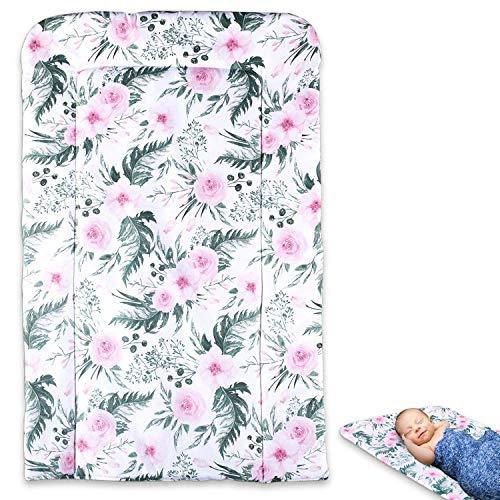 Wickelauflage abwaschbar Auflage für Wickelkommode - Baby Wickelunterlage Wickeltisch Unterlage weiche Wickeltischauflage changing mat BLUMEN 50 x 70