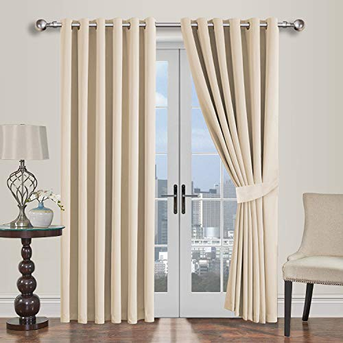 Oxford Homeware Blackout Curtains Bedroom Eyelet Thermal Insulated Noise Reducing Living Room Window Curtain Pair Panels + 2 Tiebacks (Cream, 66x54 (167x137cm))