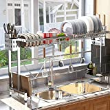 SAYZH Over The Sink Dish Drying Rack, Width Adjustable( Fit Small and Large...