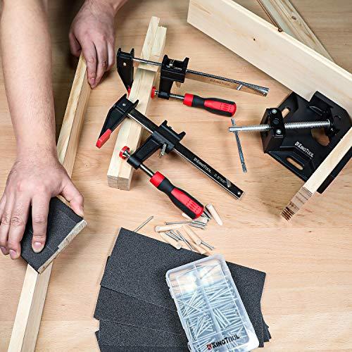 KINGTOOL Wood Clamp Set, Including 2Pcs 6-Inch Clutch Style Bar Clamp, 1Pc 90° Aluminum Alloy Corner Clamp, 96pcs Screws Kit and 12pcs Sandpaper Sheets
