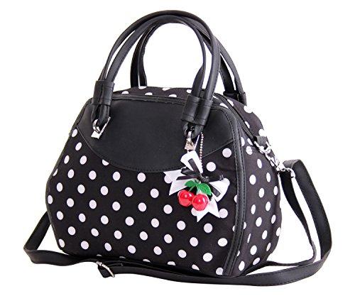 SugarShock Damen Handtasche Elsa Polka Dots, Farbe:schwarz schwarz
