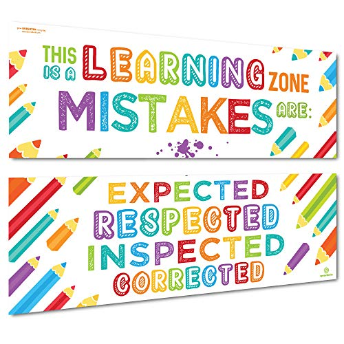 Sproutbrite Classroom Banner/Posters for Decorations - Learning Zone - Educational, Motivational & Inspirational Growth Mindset for Teacher, Students - 2 Poster Pack